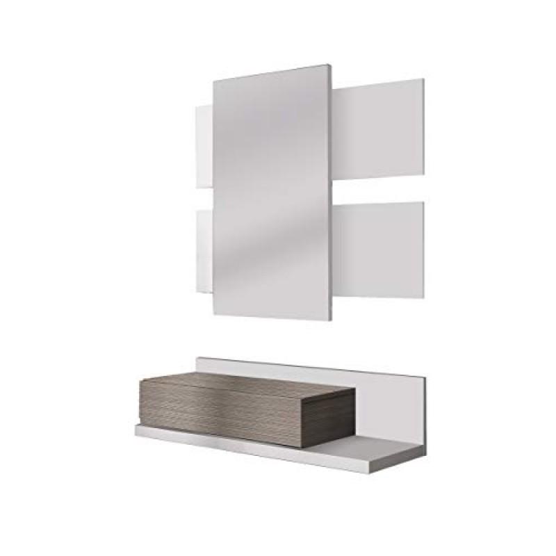 13Casa Aragona B01 Mobile Ingresso Melamina 75x29x20 H cm Specchio Bianco Faggio