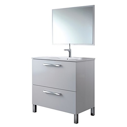 13Casa Atena B2 Set Mobile Bagno + Specchio, 80x45x80 H cm, Bianco, Melamina, Specchio
