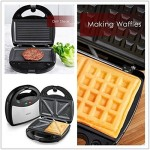 Aicok Tostiera, Waffles piastra, Sandwich maker (3 in 1), 750w, Termostato regolabile, Piastre antiaderent, Tostiera removibilii, Colore argento
