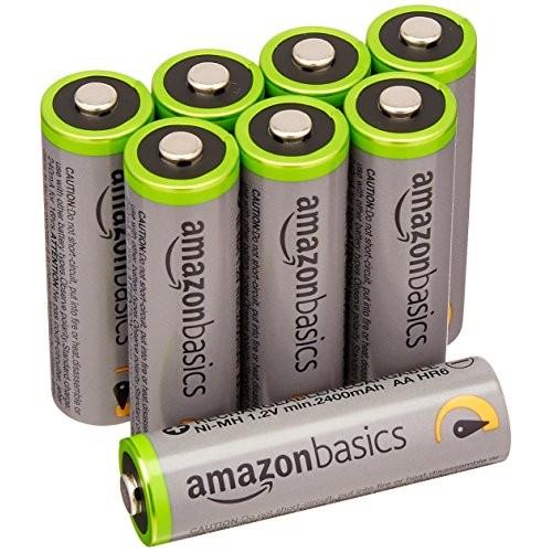 AmazonBasics - Pile Ricaricabili Stilo AA ad alta capacità, pre-caricate, 8 pezzi, durata di 500 cicli (2500 mAh, min. 2400 mAh). Involucro esterno...
