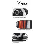 Ardes AR4B01 Stufa al Carbonio Oscillante Tizzo, 2 Lampade e 2 Potenze, Argento/Nero