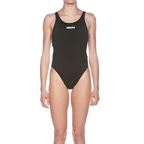 Arena Solid Swim Tech Costume da bagno, Donna, Nero/Bianco, 38