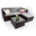 AVANTI TRENDSTORE - Adelino - Set di mobili da giardino, composto da divano ad angolo con tavolino in polirattan marrone scuro e vetro, cuscini di ...