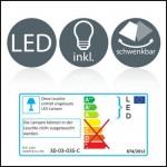 Plafoniera LED moderna, lampada da soffitto, 3 luci rotonde orientabili, forma ciambella, luce calda, corpo metallo cromato, LED integrati 3 x 4.5W...