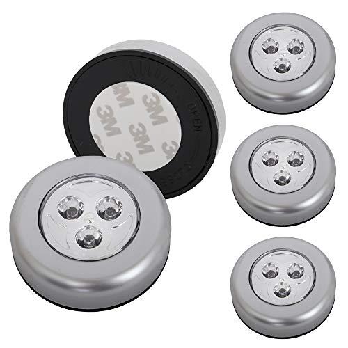 Briloner Leuchten Luce a pressione LED titanio, set da 5, adesiva, per mobili e pensili, 5 V, a batteria, lampadine integrate, Ø 6.8 x 2.3 cm (D x A)