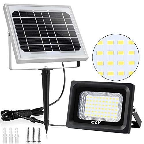 Faretto Solare CLY di 60 LED, Lampada Solare da Esterno Impermeabile(IP66), Luci Solari da Esterni con 60 Lampadine LED Illuminazione, 6000K Bianco...