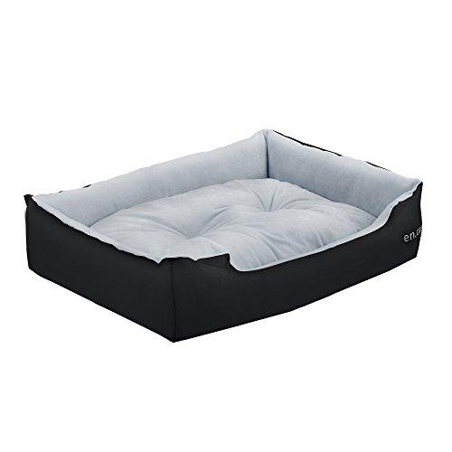 [en.casa] Cuccia per cane - con cuscino che si puo voltare tessuto Oxford/cotone PP - 75 x 56 x 19 cm [Gr. L] - Nero/Grigio
