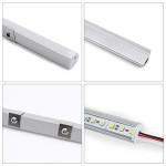 Jirvyuk LED Profilo in Alluminio Per Luci LED Strip con copertina bianca Lattea ,Tappi Terminali e Clip di Fissaggio in Metallo (Argento) (Argento-01)