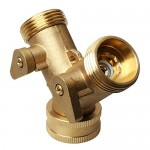 Kuou collettore in ottone, 3/10,2cm rubinetto a Y in ottone scarico a due vie raccordo lavatrice