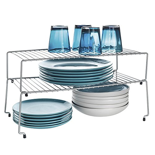 Metaltex - Set di 2 scaffali impilabili per credenza, colore: argento