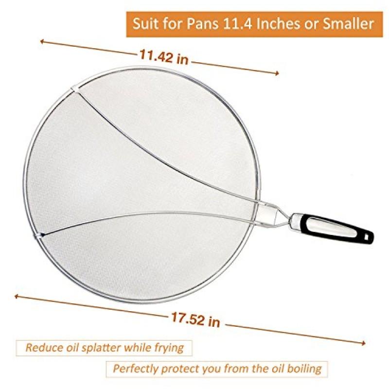 Diametro 33 cm Pratico Padella da Cucina Coperchio paraschizzi in silicone per padelle