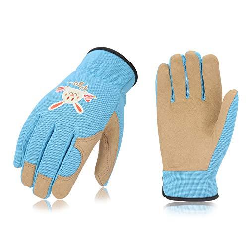 Vgo Glove Guanti, 1 paio, per bambini di 5-6 anni, guanti da giardinaggio e da lavoro per bambini, in pelle sintetica e spandex traspirante con sta...