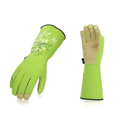 Vgo Glove Guanti da giardino e guanti da lavoro donna, guanti da giardinaggio extra lunghi, palmo in pelle sintetica, guanti da donna (7/S, Verde, ...